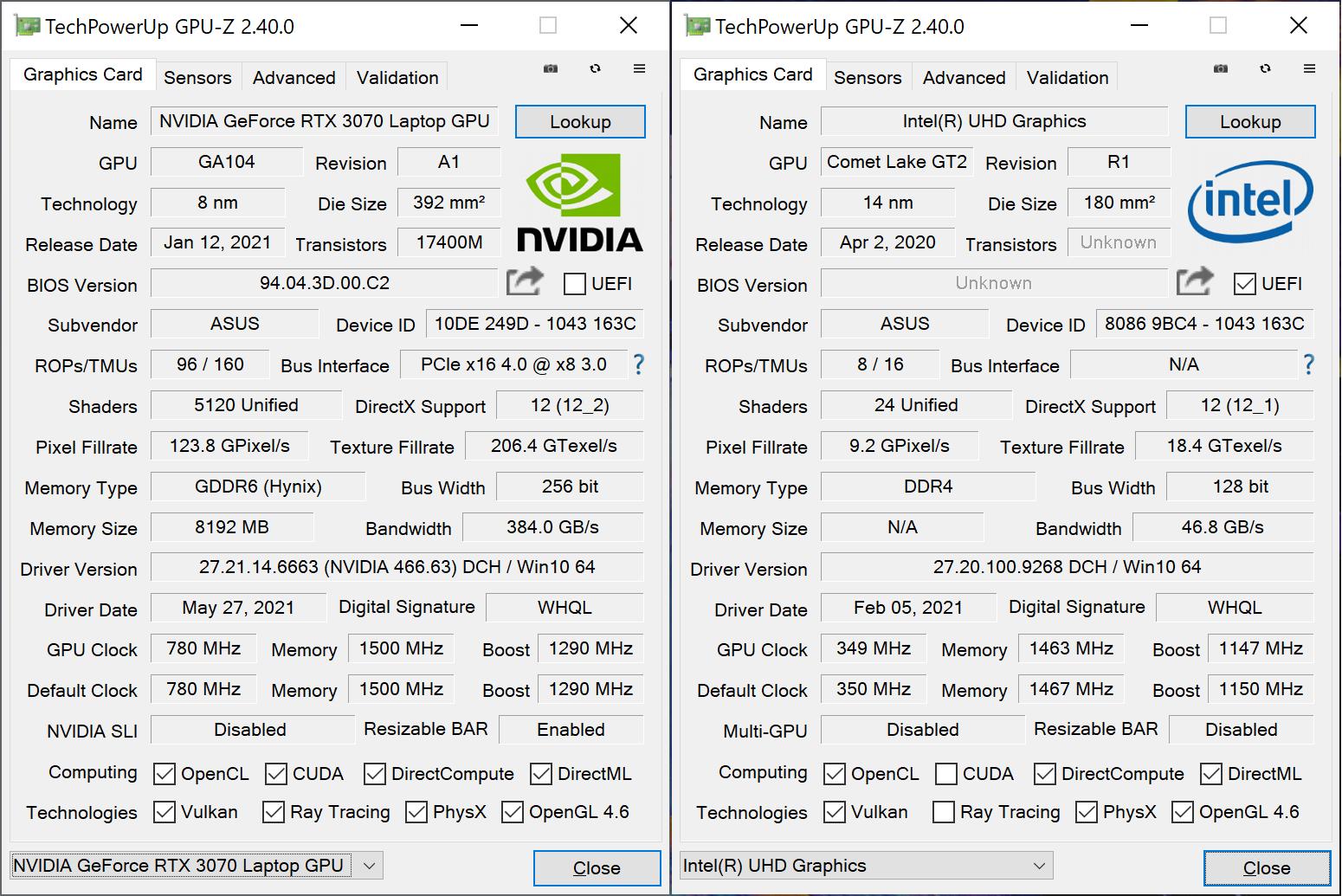 ASUS ZenBook Pro Duo UX582 GPU-Z spec