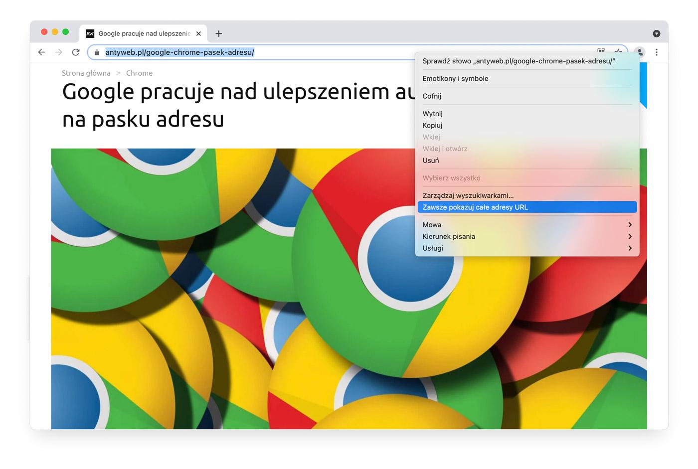 Chrome 91 i pasek adresu